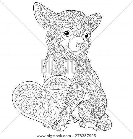 Coloring Page. Lovely Dog With Heart For Valentines Day Card. Anti Stress Colouring Picture With Chi