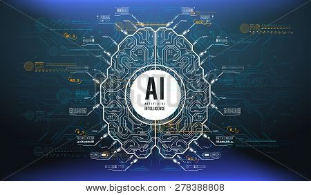 Futuristic Design Of An Artificial Intelligence Brain With Futuristic Hud Elements. Abstract Glowing