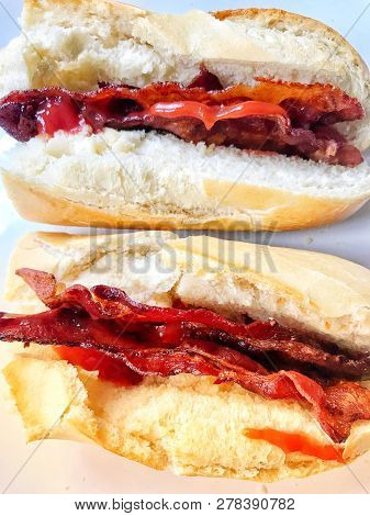 Crispy Streaky Bacon Breakfast Baguette With Tomato Ketchup