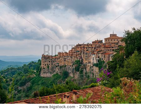 Panoramic View Of Tourrettes-sur-loup Town In Provence, France