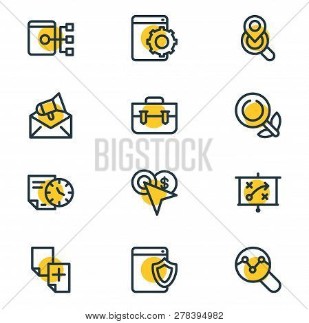 Vector Illustration Of 12 Advertisement Icons Line Style. Editable Set Of Web Security, Organic Sear