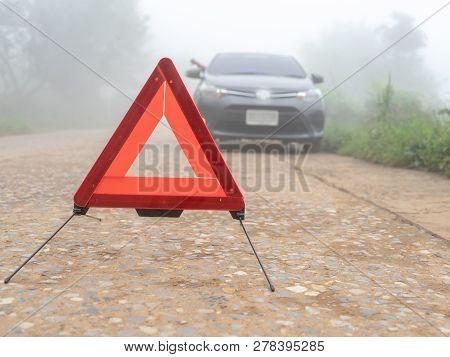 A Car Breakdown On Misty Foggy Road. Driver Calling For Emergency Help. Haze Problem. Man Car Broken