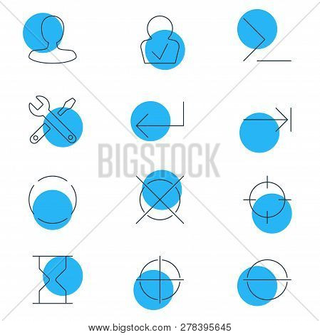 Vector Illustration Of 12 Interface Icons Line Style. Editable Set Of Screenshot, Enter, Confirmed M