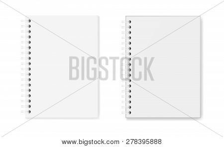 Vector Set Of Realistic Images Of Notebooks: Hardcover And Soft Cover, Top View. White Sheets Of Pap