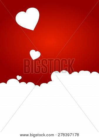 Valentine Copy Space Red Background With Hearts Silhouette And Flying Hearts
