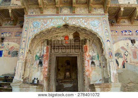 Mandawa, India - March 31, 2007: Facade Of A Decorated Haveli Building In Mandawa, India.