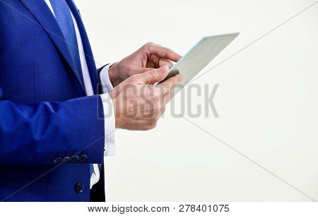 Tablet Portable Computer In Hands Of Manager. Smart System Control. Digital Technology. Wireless Tec