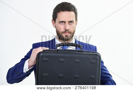 Man Hold Briefcase. Business Profit. Commercial Offer. Businessman Demonstrate Briefcase. Business C