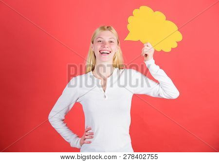 Ideas And Thoughts Copy Space. Girl With Speech Bubble. Thoughts Of Inspired Adorable Woman. Idea An