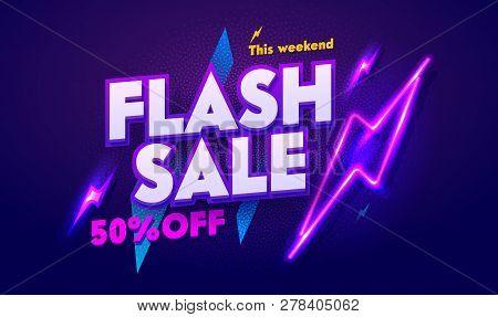 Flash Sale Neon Light Typography Banner. Discount Night Advertising Glow Electric Billboard. 3d Glos