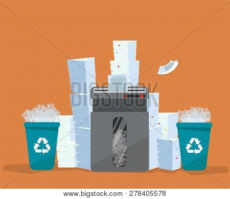 A Pile Of Paper And Documents Stands Above Big Floor Shredder. . Many Paperwork Concept. Huge Stacks