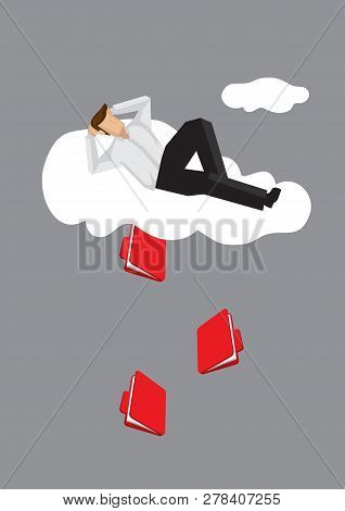Cartoon Lying On Cloud In A Relax Manner Unaware Of Document Files Coming Out From Cloud. Creative V