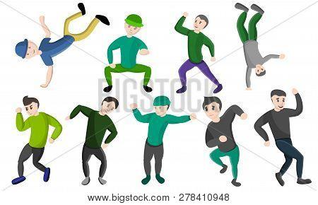 Hiphop Dance Icons Set. Cartoon Set Of Hiphop Dance Vector Icons For Web Design