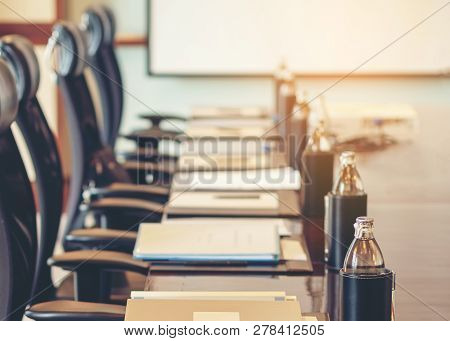 The Detail Table Shot Of A Meeting Room And Boardroom For Commercial Meeting