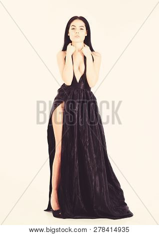 Lady, Sexy Girl In Dress. Woman In Elegant Black Long Evening Dress With Decollete, White Background