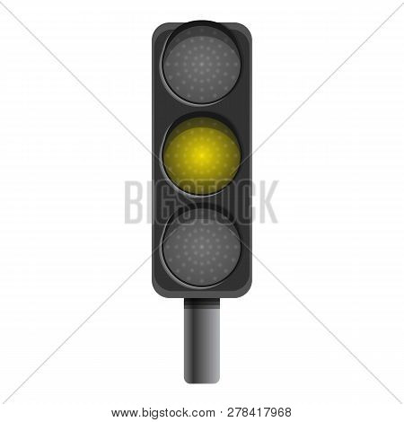 Pillar Semaphore Yellow Light Icon. Cartoon Of Pillar Semaphore Yellow Light Vector Icon For Web Des