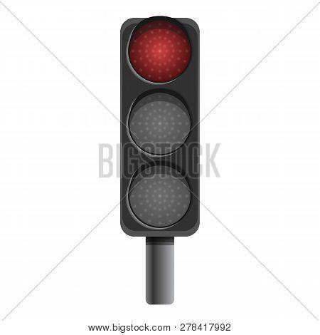 Pillar Semaphore Red Light Icon. Cartoon Of Pillar Semaphore Red Light Vector Icon For Web Design Is