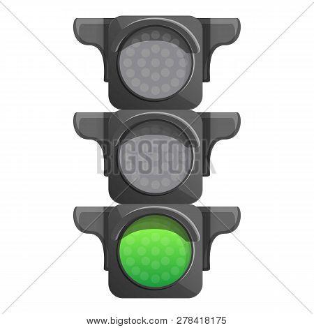 Crossroad Semaphore Green Light Icon. Cartoon Of Crossroad Semaphore Green Light Vector Icon For Web