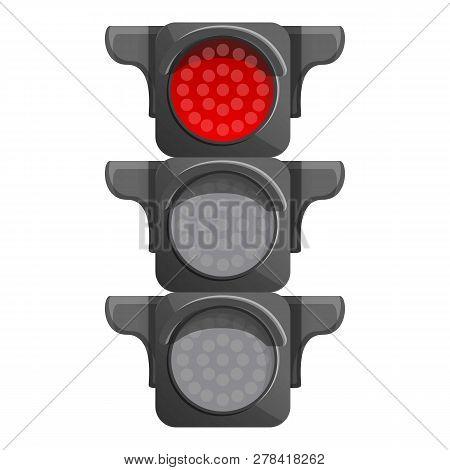 Crossroad Semaphore Red Light Icon. Cartoon Of Crossroad Semaphore Red Light Vector Icon For Web Des