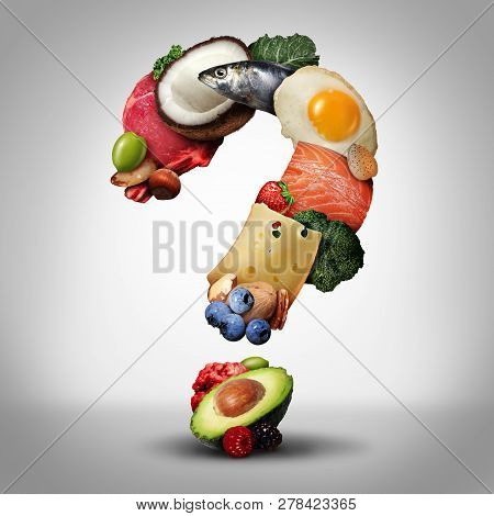 Keto Diet Questions And Ketogenic Low Carb And High Fat Food  Eating Lifestyle As Fish Nuts Eggs Mea