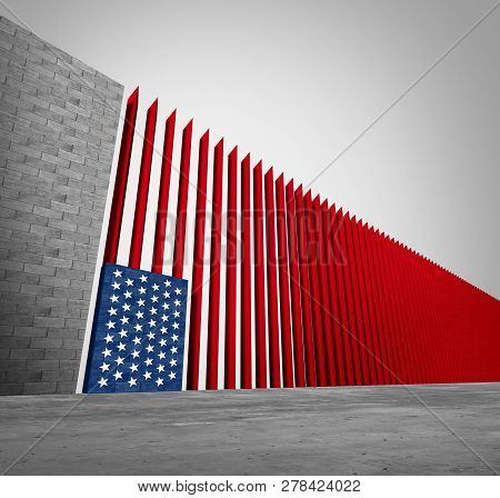 United States Border Wall And American Immigration And Usa Refugee Crisis Concept As Barrier Or Stee