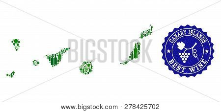 Vector Collage Of Wine Map Of Canary Islands And Best Grape Wine Grunge Stamp. Map Of Canary Islands
