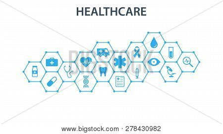 Healthcare Concept. Abstract Hexagons Shape Medicine And Science Background With Icons For Medical,