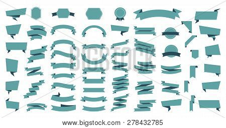 Flat Vector Ribbons Banners Flat Isolated On White Background, Illustration Set Of Ribbons. Ribbon V