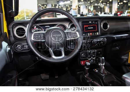 NEW YORK, NY-MARCH 28, 2018: Jeep Wrangler Rubicon shown at the New York International Auto Show 2018, at the Jacob Javits Center. This was Press Preview Day One of NYIAS.