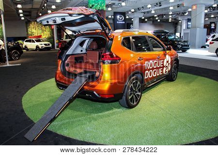 NEW YORK, NY-MARCH 28, 2018: Nissan Rogue shown at the New York International Auto Show 2018, at the Jacob Javits Center. This was Press Preview Day One of NYIAS.