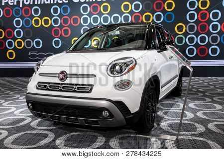 NEW YORK, NY-MARCH 28, 2018: Fiat 500L shown at the New York International Auto Show 2018, at the Jacob Javits Center. This was Press Preview Day One of NYIAS.