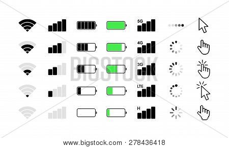 Mobile Phone System Icons. Wifi Signal Strength, Battery Charge Level, Loading, Download, Cursor. Ve