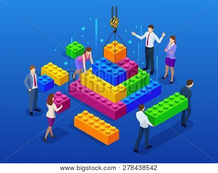 Isometric Business Management, Online Communication And Finance Concept, Business Teamwork And Plast