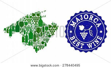 Vector Collage Of Wine Map Of Majorca And Best Grape Wine Grunge Stamp. Map Of Majorca Collage Compo