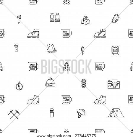 Camping Pattern Design - Outdoors Adventure Seamless Background With Camp Symbols And Wanderlust Ele
