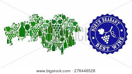 Vector Collage Of Wine Map Of North Brabant Province And Best Grape Wine Grunge Stamp. Map Of North