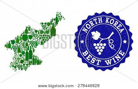 Vector Collage Of Wine Map Of North Korea And Best Grape Wine Grunge Watermark. Map Of North Korea C