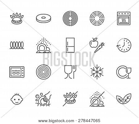 Utensil Flat Line Icons Set. Gas Burner, Induction Stove, Ceramic Hob, Non-stick Coating, Microwave,