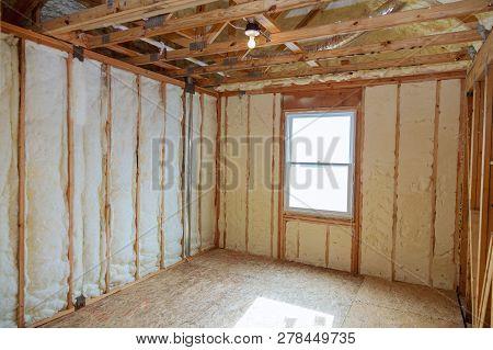 Insulation Of Attic With Fiberglass Cold Barrier And Insulation Material Thermal Insulation Attic