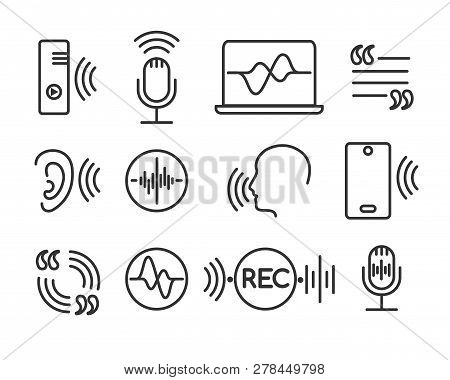 Voice Recognition Icons. Telephone Conversation Linear Symbols, Speech And Hearing Command Pictogram
