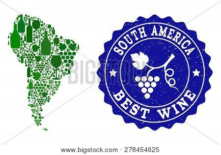 Vector Collage Of Wine Map Of South America And Best Grape Wine Grunge Stamp. Map Of South America C