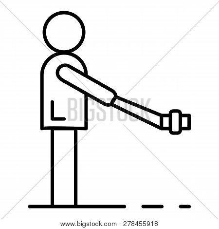 Man Take Selfie Stick Icon. Outline Man Take Selfie Stick Vector Icon For Web Design Isolated On Whi