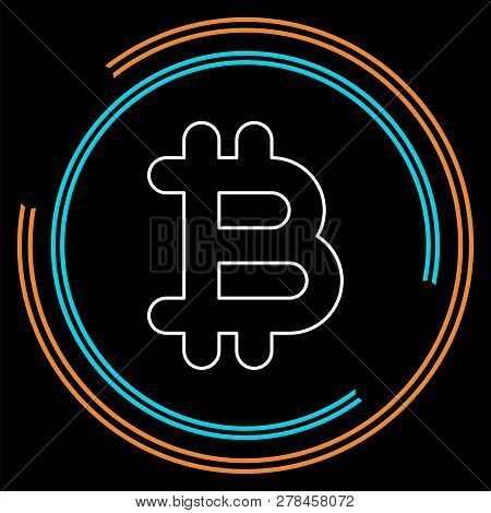 Bit Coin Icon, Vector Currency Sign, Bitcoin. Thin Line Pictogram - Outline Stroke