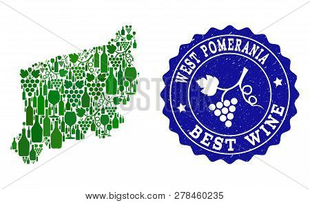 Vector Collage Of Wine Map Of West Pomerania Province And Best Grape Wine Grunge Seal Stamp. Map Of