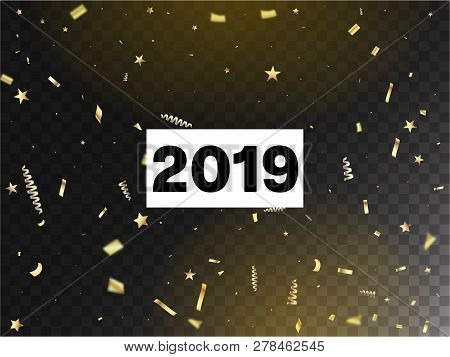 2019 Luxury Confetti, Isolated Stars, Tinsel Falling. Horizontal Fairy Streamers Background. Cool Lu