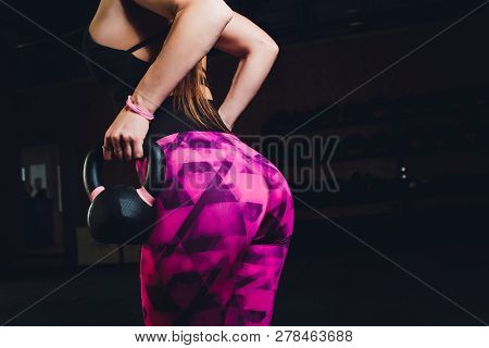 Sexy Beautiful Ass In Thong. Fitness Girl, Athletic Woman Working Out With Kettlebell Weight.