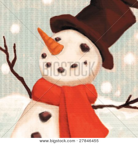 close up snowman  (illustration or Christmas Card design)