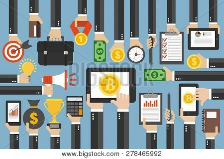 Crypto Currency Concept Flat Design Business.smartphone With Bitcoin Currency.vector Illustration