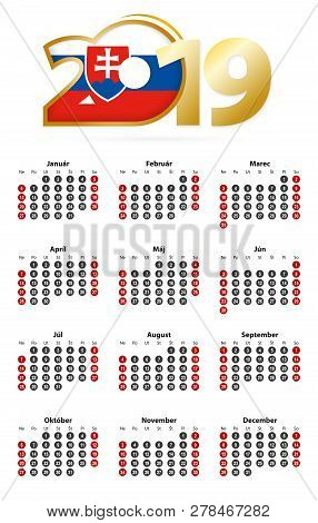 Slovak Calendar 2019 With Numbers In Circles, Week Starts On Sunday. 2019 With Flag Of Slovakia