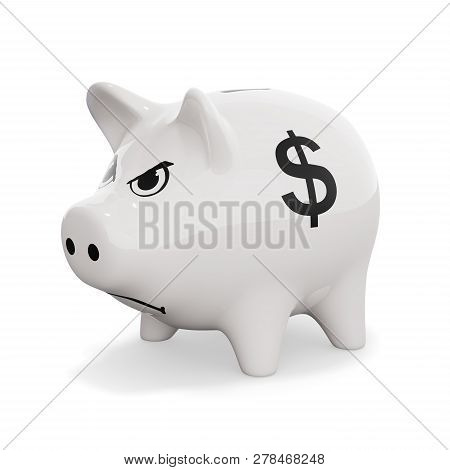 Piggy Bank For Dollar Savings Is Angry. 3d Illustration
